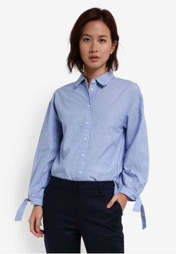 WAREHOUSE blue Chambray Tie Cuff Shirt 2AC62AADA93C82GS_1