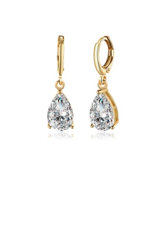 Glamorousky white Sparkling Plated Champagne Gold Water Drop Earrings with Cubic Zircon F6DC5ACC135020GS_1