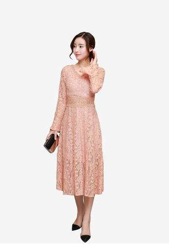 hk-ehunter pink Women V-neckline Flare Sleeves Flare Dress C949AAAA9BCF03GS_1