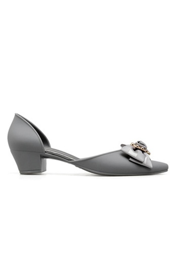 Halo grey Bow Waterproof Jelly Shoes 54943SH70D5386GS_1