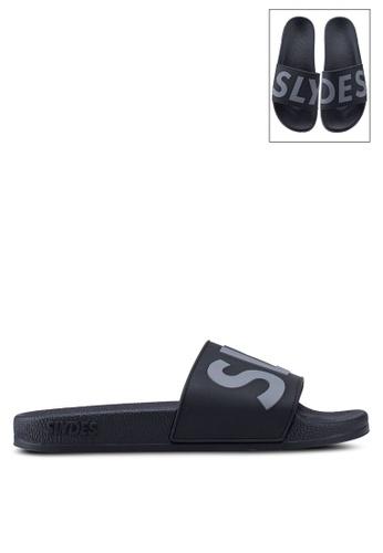Slydes 黑色 and 灰色 LOGO印花休閒拖鞋 FC99CSHA6DEA0BGS_1