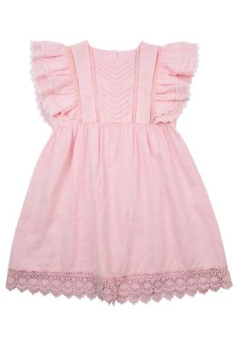 Vauva pink Vauva Pink Frilling Sleeves One Piece Dress w/ Pink Hair Elastic 0CDAFKAF9357FDGS_1
