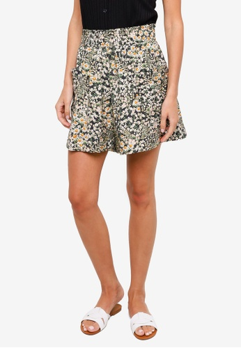 H&M green and multi Paperbag Waist Shorts 5F528AA6540CFAGS_1