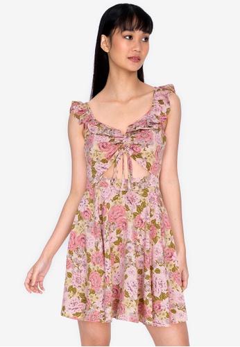 ZALORA BASICS multi Floral Gather Front Ruffle Mini Dress 5D930AA7510BBFGS_1