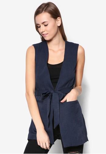 Belted Sleeveless Jacket, 服飾, 夾克 & 大zalora 鞋評價衣