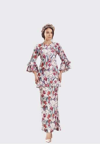 Bella Modern Kurung from Nadjwazo by LadyQomash in grey and red and pink and green and multi_1