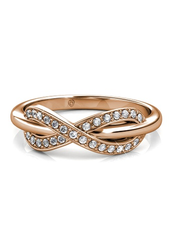 Her Jewellery gold Trist Ring (Rose Gold) - Made with premium grade crystals from Austria FA9A3AC0D410CEGS_1