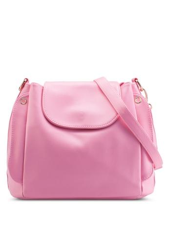 Bagstationz pink Multi-Compartment Convertible Sling Bag BA607AC91KIYMY_1
