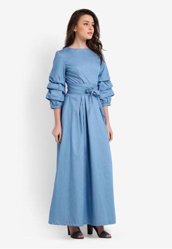 Zalia blue Tiered Sleeve Fit And Flare Dress 8464CAA9CB8865GS_1