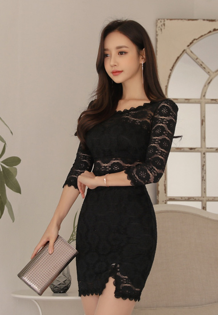 Black Black CA011723 New See Lace 2018 One Piece Through Sunnydaysweety C1zxnwv