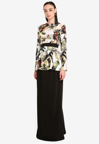 Hyacinth Belted Drape Kurung from Justin Yap Collection in black and Green