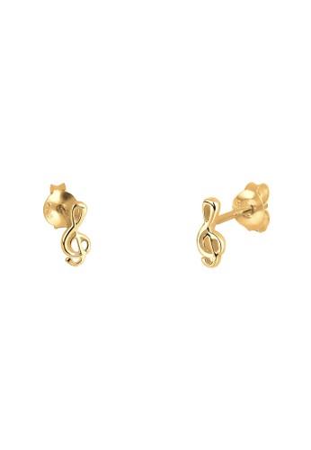 9zalora 泳衣25 純銀鍍金音符耳釘, 飾品配件, 耳釘