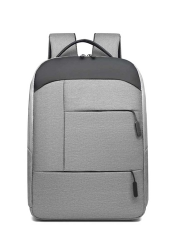 Lara grey Businessmen's Water-repellent Oxford Cloth Zipper Backpack - Light Grey 02697ACBF044E5GS_1