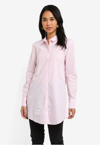 ONLY pink Sapelin Long Sleeve Woven Stripe Shirt A0E72AA1D23752GS_1