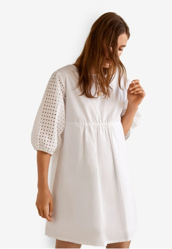 MANGO white Openwork Cotton Dress 84A9BAA2BB965AGS_1