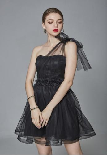 派對單肩綁帶esprit 台中花朵澎紗短禮服, 服飾, 派對洋裝
