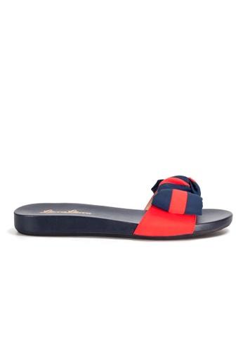 Shu Talk red Striped bow tie Slip on Sandals 1D0E6SH6C25B6BGS_1