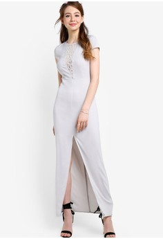 【ZALORA】 正面開衩細節蓋袖伴娘禮服