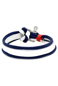 Silver Shackle Two Toned Blue/White Bracelet