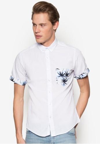 印花口袋短袖襯衫、 服飾、 襯衫24:01印花口袋短袖襯衫最新折價