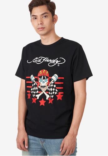 "Ed Hardy black Ed Hardy Men's ""Speedy Chaser Skull"" Rhinestone Embroidered Round Neck Tee 34C8DAAFA6A4EAGS_1"