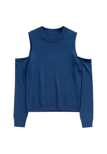 KLAPS blue Cold Shoulder Sweater 7C9F3AA97774F8GS_1