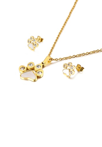 Glamorousky white Fashion and Cute Plated Gold Cat Paw 316L Stainless Steel Necklace and Stud Earrings Set with Cubic Zirconia 0E9EDACF75E1BBGS_1
