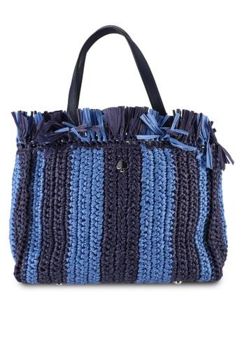 kate spade new york blue Sam Stripe Straw Medium Satchel Bag (cv) 019B2AC02BAF99GS_1