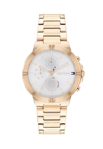 Tommy Hilfiger Watches white and silver and gold Women's Ionic Plated Carnation Gold Steel Bracelet and Silver White Dial Quartz Multi-Function Watch 07AE3ACD7C4CA3GS_1