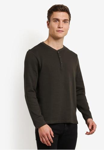 Burton Menswear London green Khaki Waffle Grandad T-Shirt BU964AA0RWMEMY_1