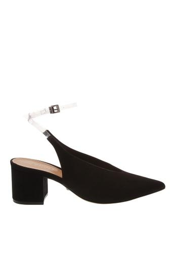 SCHUTZ black Black Nubuck with PVC Ankle Strap Sandals - S/AMAPOULA [NUBUCK/VINIL] 89547SH0E399DEGS_1