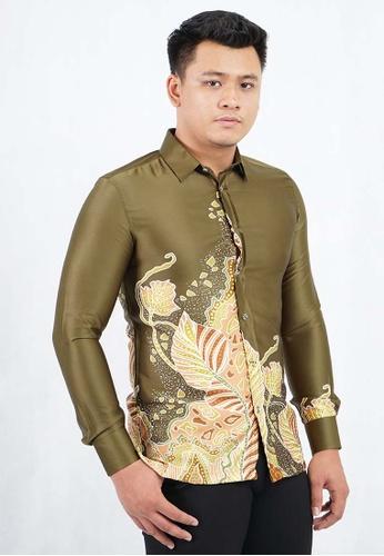 UA BOUTIQUE green Long Sleeve Shirt Batik UABM07-072 (Light Green) CB767AA6208F5DGS_1