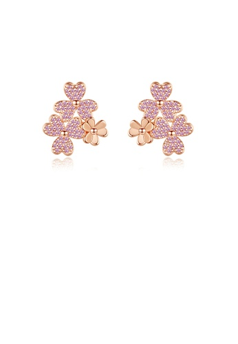 Glamorousky pink Fashion Simple Plated Rose Gold Flower Stud Earrings with Pink Cubic Zirconia 42822AC5542505GS_1