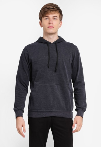 Penshoppe grey Waffle Knit Hoodie With Cut & Sew Panel PE124AA0SN1PMY_1