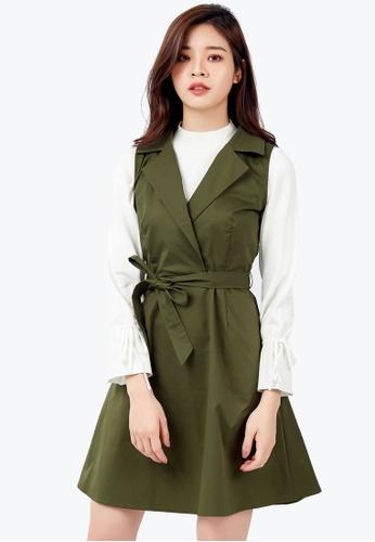 Kodz green Structured Vest Dress 391C0AA955068CGS_1