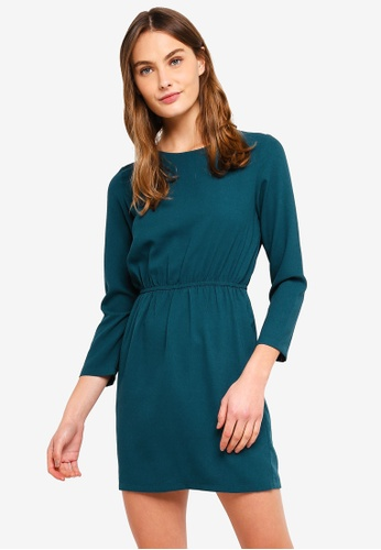 ZALORA BASICS green Basic Open Back Mini Dress F1470AA22ECEFAGS_1