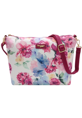 STRAWBERRY QUEEN red and blue and multi Strawberry Queen Flamingo Sling Bag (Floral A, Blue) E7BD6ACC47053CGS_1