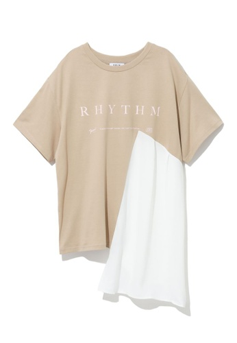 Fivecm beige Panelled graphic tee 0E260AA0FDF0B9GS_1