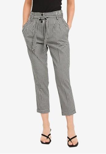 Miss Selfridge black Petite Black Gingham Trousers 6B2ECAAA0516D8GS_1