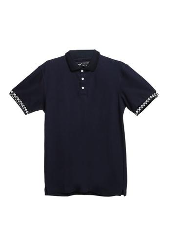 UniqTee 海軍藍色 Polo 襯衫 With 格紋Cuff 09743AA94D7320GS_1
