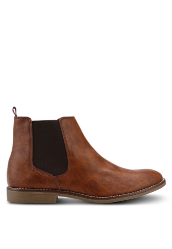 Topman brown Tan PU Chelsea Boots 28D05SH077D4C5GS_1