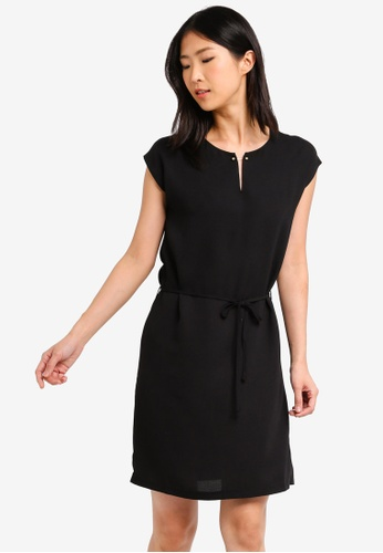 ZALORA BASICS black Basic Bar Details Dress With Tie 72A18AAC774103GS_1