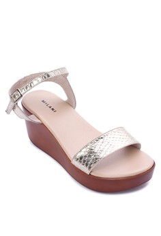 Merly Casual Single Strap With Ankle Strap Mid Wedge Sandal