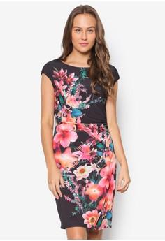Black Floral Printed Wrap Dress