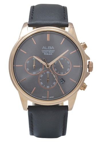 Alba black ALBA Jam Tangan Pria - Black Rosegold - Leather Strap - AT3E50 3C597AC4C878E6GS_1
