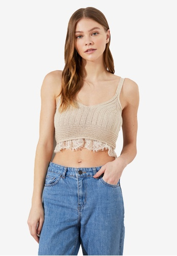 Trendyol beige Knitted Lace Detail Crop Top 6A730AA316CE49GS_1