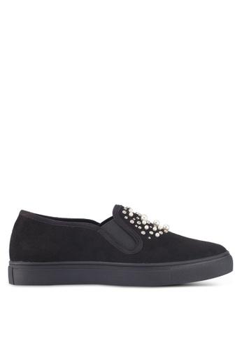 ZALORA black Pearl Studded Embellished Slip Ons 01F01SHBC4FB77GS_1