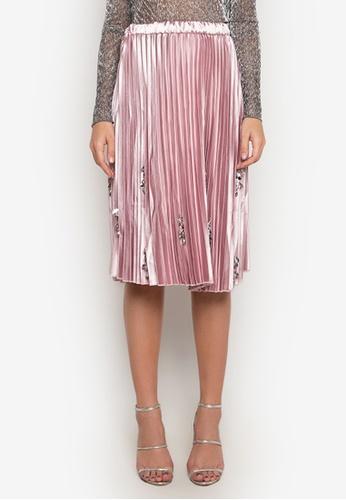 NOBASIC pink Beaded Pleated Midi Skirt E35ECAA3FA9DEFGS_1