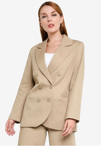 H&M beige Double-Breasted Blazer 3ED9FAA6836F09GS_1