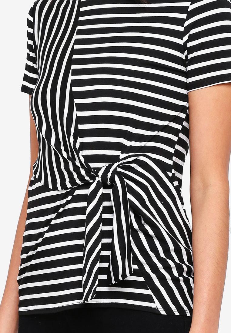 Stripe Mono Tie Perkins Black Front Dorothy Top EFqzP